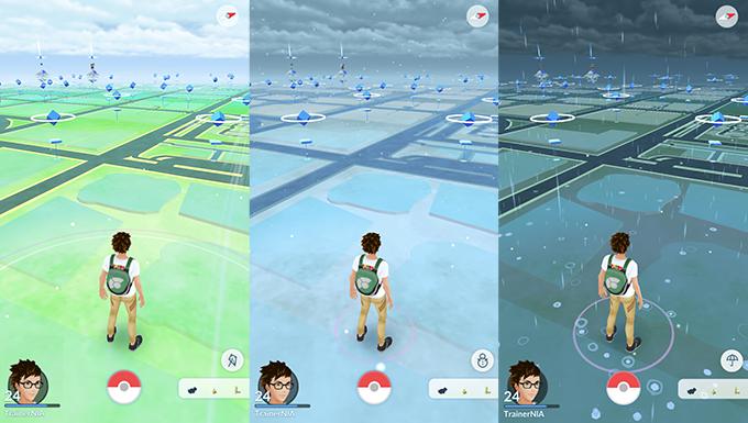 Игровой процесс Pokemon Goначнёт реагировать напогодные изменения