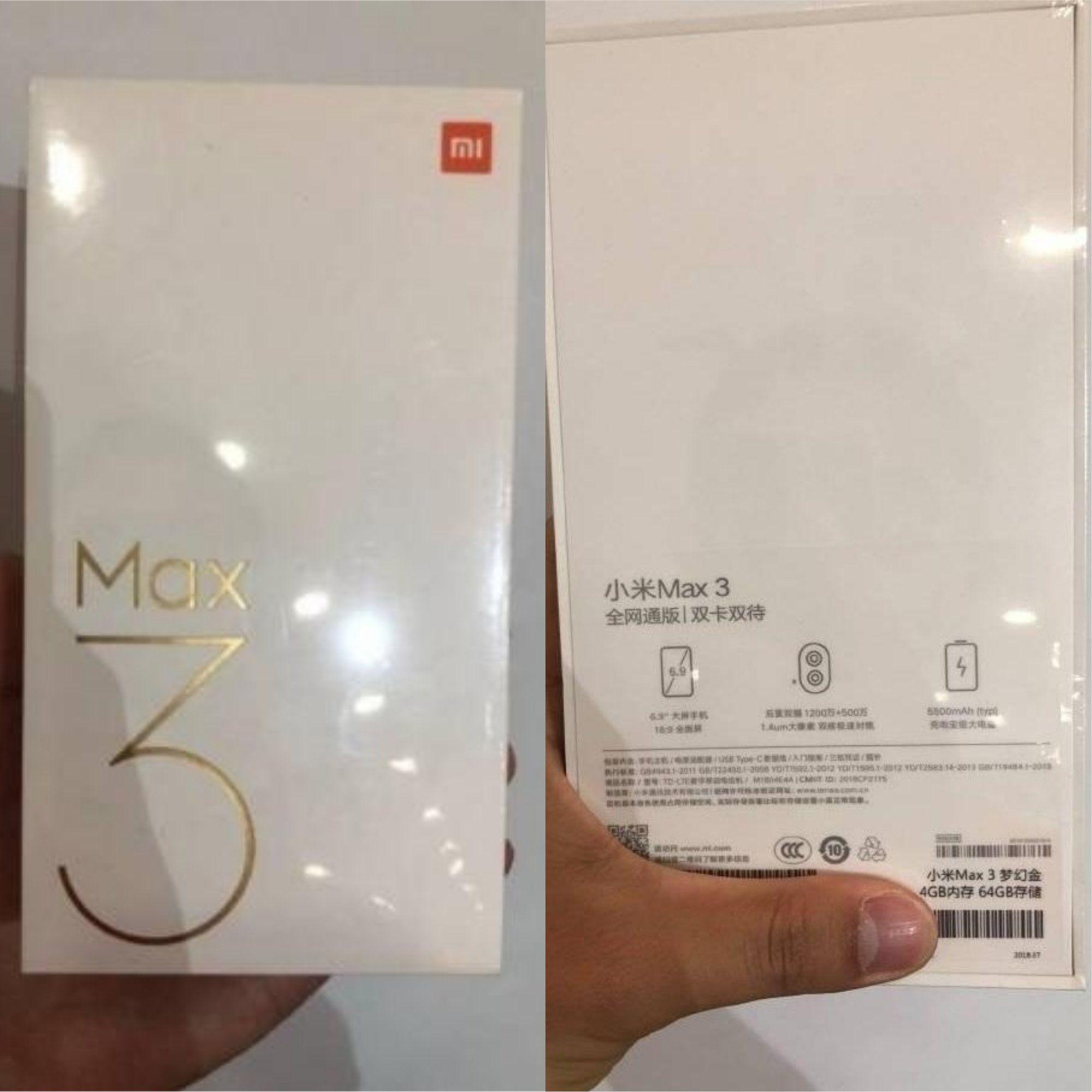 В Сети появились фотографии коробки смартфона Xiaomi Mi Max 3