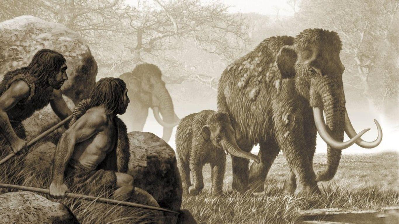 наличии картинка мамонта и древнего человека лот стал